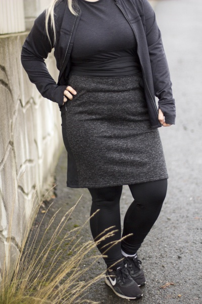 a3c2f3bc Downtown Reversible Skirt Shadow Heather/Black - Løpeskjørt.no